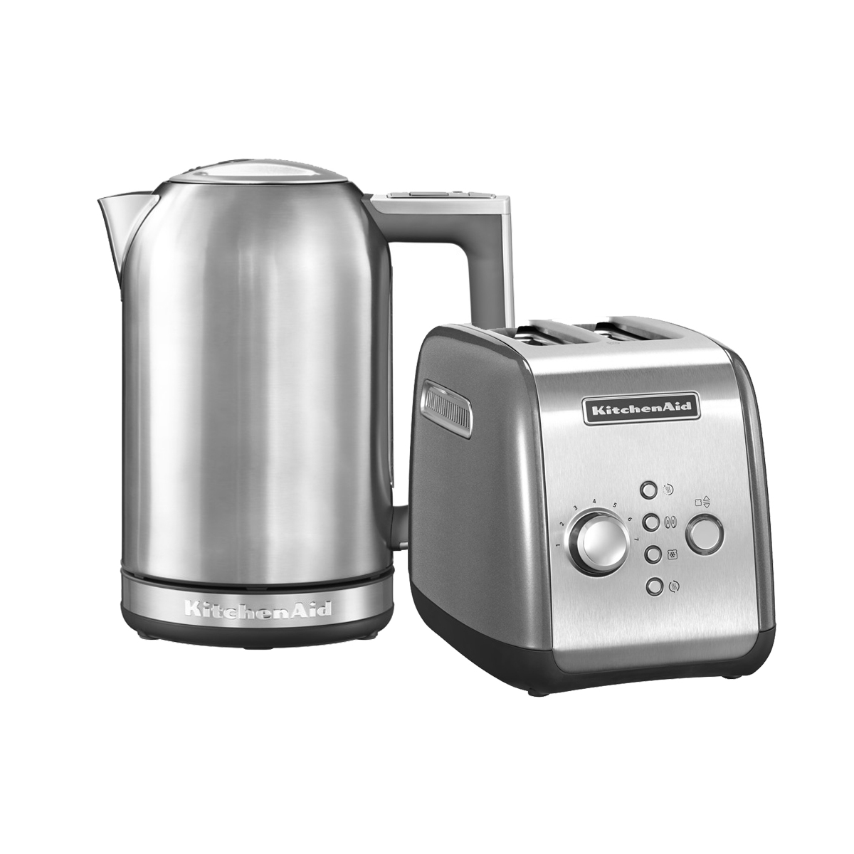KitchenAid Набор Завтрак KitchenAid Тостер 5KMT221ECU + Чайник 5KEK1722ESX, серебристый